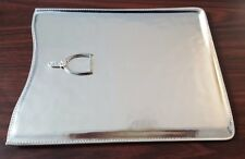 RALPH LAUREN COLLECTION SILVER LEATHER MEDIA IPAD TABLET SLEEVE CASE ITALY
