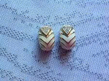 Vintage cream enamel & diamante Christian Dior clip on earrings