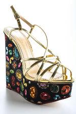 Charlotte Olympia Black Jewel Print Elizabeth Wedges Size 38 8 New In Box $895