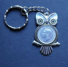 King George lucky Sixpence Owl keyring Charm Royal Souvenir pre 1952 + gift box