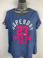 WOMENS SUPERDRY BLUE LOGO PRINT SHORT SLEEVE CREW NECK CASUAL T SHIRT SIZE SMALL