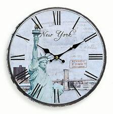 Wanduhr aus Holz 29cm Amerika USA New York Freiheitsstatue Uhr römische Ziffern