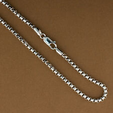 Sterling Silver 3mm Round Box Chain, 22 inches, .925 Sterling Silver Italian Cha