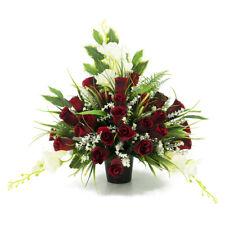 Angraves Lucas Red Rose White Artificial Flower Graveside Cemetery Memorial Arra