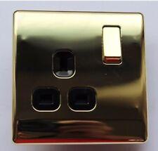 Homebase Single Switched Socket 13A 1 Gang - Polished Brass (C2)