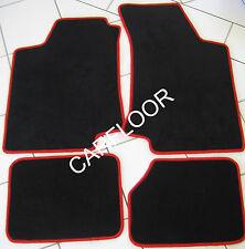 Für Opel Kadett E 10.88 - 09.91 Fußmatten Velours schwarz Deluxe mit Rand rot