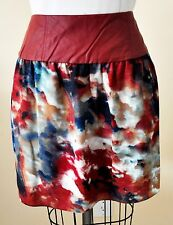 BRAND NEW W118 BY WALTER BAKER RED FAUX LEATHER Trim  MINI SKIRT SIZE LARG