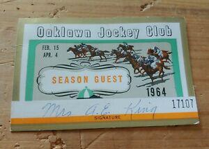 Oaklawn Park Jockey Club Season Guest Card Ticket Hot Springs Horse Racing 1964