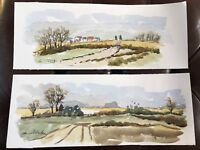 X 2 WATERCOLOUR & INK SIGNED PAINTINGS COUNTRY ESSEX RURAL SCENES LANDSCAPES