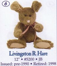 "BOYDS PLUSH COLLECTION ""LIVINGSTON R. HARE JB  5200"