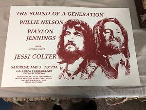 WILLIE NELSON w/ Waylon Jennings & Jessi Colter – CONCERT POSTER Print