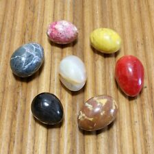 """7 Vintage Alabaster Marble Stone Easter Eggs Assorted Colors And Sizes 2 3/8-3"""""""