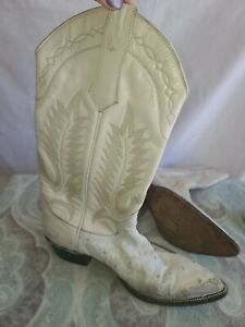 Vintage White Ostrich Full Quill Leather Cowboy Boots 7D