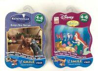 LOT OF 2 Vtech V.Smile Learning System Games Disney Little Mermaid & Ratatouille