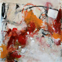 Earthy Layered Contemporary abstract original Painting acrylic paper 20x20 Reds