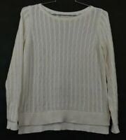 Ann Taylor Loft Off White Long Sleeve Knit Round Neck Sweater Women's Sz Medium