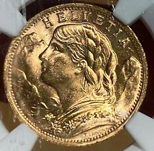 Switzerland 1947 B Gold 20 Francs MS 65 NGC 013