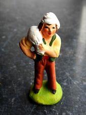 Santon en terre cuite peint Carbonel - Meunier puce