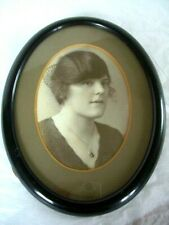 """Vintage Wooden oval Black picture frame ~10.5""""/26.5cm tall x 8""""/20cm wide"""