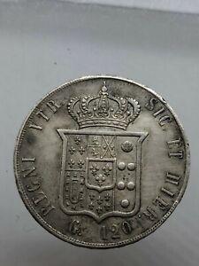Francesco II di Borbone PIASTRA 120 GRANA 1859 PERIZIA SPL Regno  due Sicilie
