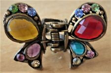 Clip Rhinestone Crystal Colored Butterfly Vintage Hair Claw