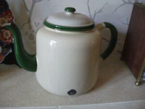 """Large Enamel Metal Teapot, Vintage, Cream/Green 8"""" high"""