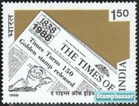 India 1988 Times of India Newspaper 150 years Journalism stamp 1v  MNH