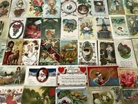 Nice~Lot of 50~Vintage Postcards~Christmas~Valentine~Thanksgiving, etc~a776