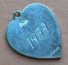 Dated 1953 Cora STERLING SILVER Heart Charm Pendant for Bracelet /Necklace VTG
