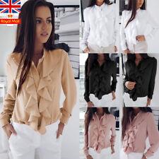 UK Women Frilled Ruffled Blouse Long Sleeve Ladies Office Tops Shirt Size 6-18