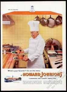 1955 Howard Johnson's restaurant chef photo vintage print ad