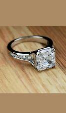 3.00Ct Asscher Cut Diamond Solitaire Engagement Wedding Ring 14K White Gold Over