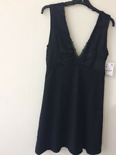 Zara amazing elegant black satin looks deep V-neck sleeveless dress, size M.