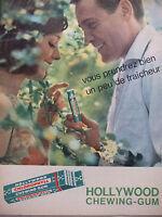 PUBLICITÉ DE PRESSE 1962 FRAICHEUR DE HOLLYWOOD CHEWING-GUM - ADVERTISING