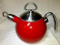Vintage Retro CHANTAL Tea Kettle Red Enamel on Steel 1 1/2 Quart, Whistling,