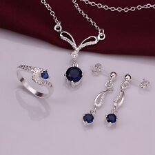 Sterling solid silver fashion blue Crystal necklace&earrings&ring sets 4 COLOR