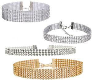Fashion Women Diamond Crystal Rhinestone Choker Necklace Wedding Silver Gold UK