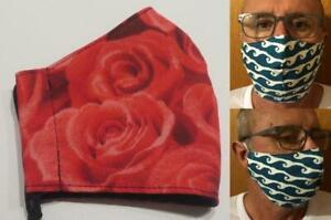 Tubie Luxe face mask with filter pocket (no filter included) bold red roses