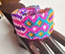 Wide Woven Friendship Bracelet Pink Purple Colour Macrame Knotted Rope String