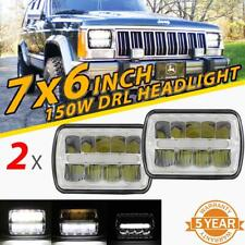 """For Jeep Cherokee / Chevy 2x 7x6"""" 5x7"""" 150W LED Headlight Clear Silver DRL Beam"""