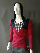 Emily Sharp para hombre de manga larga T-shirt. Rojo y Azul. con Capucha. hecho a mano. S o L