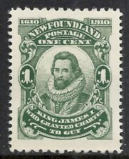 NEWFOUNDLAND SCOTT 87b MNH VF - 1910 1c DEEP GREEN ISSUE  CAT $7.50