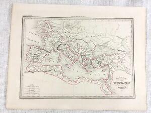 1846 Antique Map of The Roman Empire Emperor Trajan Hand Coloured Engraving