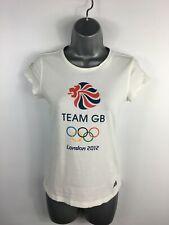 WOMENS ADIDAS WHITE TEAM GB OLYMPIC 2012 WHITE T SHIRT CREW NECK CASUAL UK 10