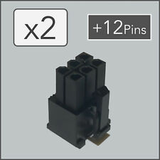 x2 6 pin Female PCI-e GPU Power Connector Socket - Black + 12 Pins