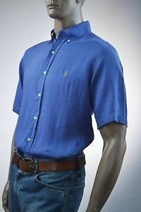 Ralph Lauren Classic Fit Blue Short Sleeve Linen Shirt/Yellow Pony-NWT