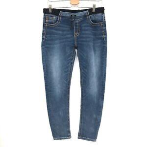 Miss Me Maternity Boyfriend Ankle dark wash Jeans Blue stretch waist 27 women's
