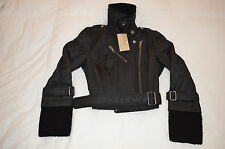Authentic Burberry Brit Womens Shearling Collar & Cuff Black Jacket Size 42/8