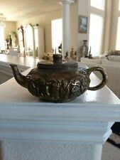 Chinese Antique 8 Immortal  Bronze Teapot Marked Little Size