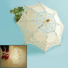 Chic Handmade Cotton Lace Ivory White Parasol Umbrella Decoration